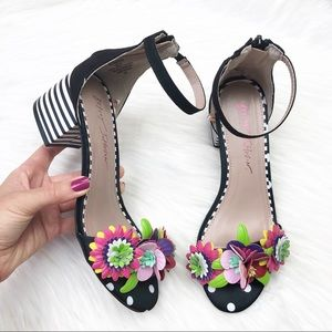 New Betsey Johnson Indy 3D Flower Ankle Strap Heel